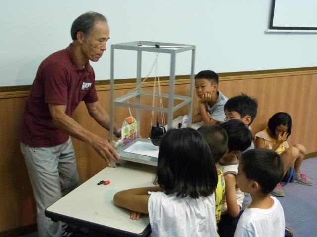 地震計の簡易模型を見て解説を聞くこどもたち